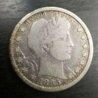 1895 S Barber Quarter Fine F Almost Very Fine VF Nicely Toned but small scratch