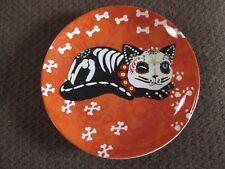 "NEW HALLOWEEN Skeleton Pet ""Cat"" Plate, Sugar Skull Style, So Cute!"