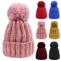 Warm Winter Women Lady Beret Braided Bobble Knit Crochet Beanie Ball Hat Ski Cap