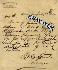 1884 GALVESTON TEXAS Letterhead ROBERT G STREET lawyer CONFEDERATE VETERAN UCV