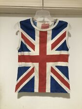Vintage 80s Union Jack Flag British Flag Sleeveless T Shirt Sz Small Def Leppard