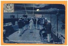 BATEAU DE GUERRE / Scene de bord / FANFARE MUSIQUE sur CUIRASSE ESCADRE de nuit