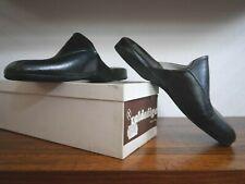 valdadige Herren Hausschuhe 40 schwarz Leder Italy 70er TRUE VINTAGE 70s slipper