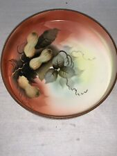 Antique Nippon Moriage Footed Bowl Peanuts and Leaves,Porcelain, Unmarked