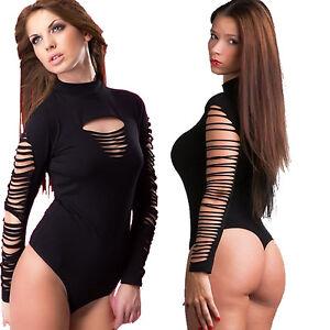 Bodysuit Women Long Sleeve Leotard Black Lingerie Top blouse stretchy Body Suit