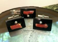 Vintage Lucite Coral & Pearl Cuff Link & Tie Clip SET Black & Silvertone Retro