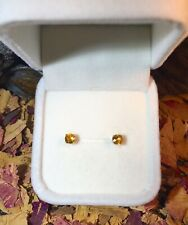 Brilliant natural Golden Yellow Sapphire 5mm facet yellow gold stud earrings 🌟