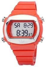 NEW ADIDAS UNISEX CANDY ORANGE POLYURETHANE BAND+SILVER DIGITAL WATCH-ADH6014