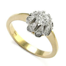 Russian style Diamond Ring 14k Two-Tone Gold Ring R827