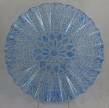 Sydenstricker Art Glass Blue Fused Studio Round Console Bowl Signed Mid Century