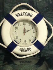 10 inch Welcome Aboard Cloth Life Ring Nautical Life Buoy Clock