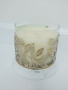 BATH & BODY WORKS gold leaves vine 3-Wick Candle Holder Sleeve