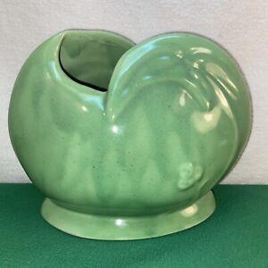 Vtg 1940-50's Caladium Leaf Pottery Art Shabby Green Cottage Planter Vase