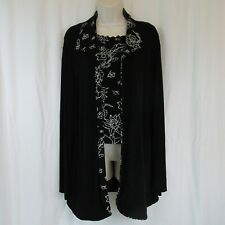 Chico's Travelers 2 Black Floral Tank Camisole Lace Trim + 3 Long Cardigan Twins