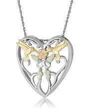 Landstrom's Black Hills Gold on Silver Hummingbird Heart Pendant MRLPE1935