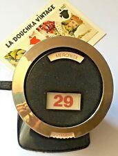 FRENCH 1950s BLACK BAKELITE STANDING PERPETUAL DESK CALENDAR~SPACE ATOMIC DESIGN