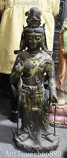 "38"" Tibet Bronze Gilt Buddhism Padmapani Lokeshvara Tara Goddess Buddha Statue"