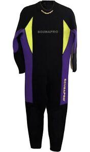 Scubapro Men's 3mm Full Wetsuit Black Purple Yellow Large/52, Good condition