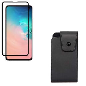 Galaxy S10e - Tempered Glass Screen Protector w Leather Case Belt Clip 5D Curved