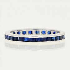 Synthetic Sapphire Eternity Band - 10k White Gold Ring Step Cut Square 1.00ctw