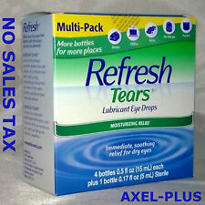 Refresh Tears Lubricant Eye Drops Multi-Pack 4 Plus 1 Bonus Bottle Moisture Dry
