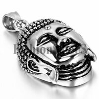 "Men's Vintage Stainless Steel Buddha Pendant Lucky Charm Necklace With 22"" Chain"