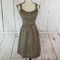Banana Republic Women's Empire Waist Dress Sz 0 Sleeveless Brown Beige Pleated
