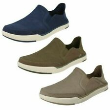 Mens Cloud Steppers by Clarks Canvas Slip On Shoes - Step Isle Row
