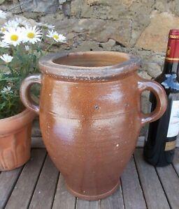 Vintage Stoneware Pot,Large22cms Glazed,French,Confit,Olive,Storage,salting jar