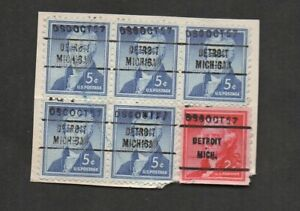 US #1038 & 1055, dated control precancels, DETROIT MICHIGAN DSC OCT 57.