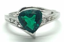 Sterling Silver Solitaire Trillion Green Tourmaline Diamond Curved Cocktail Ring