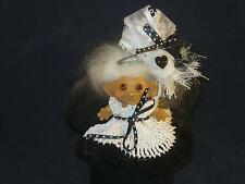"2 3/4"" VTG DAM NEW WHITE MOHAIR & ORG. AMBER EYES W/WHITE & BLACK DRESS  U414"