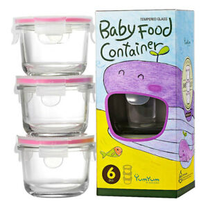 3pc Glasslock 165ml Round Glass Baby Food Containers Snack Storage w/ Lid Pink