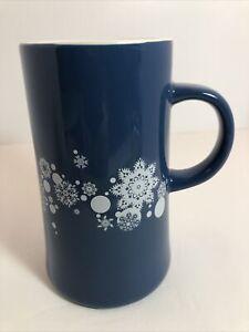 Caribou Coffee 12 Oz  Blue Ceramic Snowflake Coffee/Tea Mug Christmas Holiday