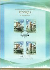 SINGAPORE 2020 HUNGARY JOINT ISSUE BRIDGES COMMEMORATIVE CARD 2 SETS OF 4 STAMPS