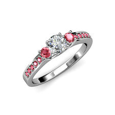 Diamond & Pink Tourmaline 3 Stone Ring with Side Tourmaline in 14K Gold Jp:75278