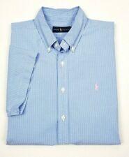 Polo Ralph Lauren Blue Mini-Check Poplin Short Sleeve Button Shirt XL