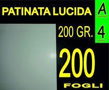 200 FOGLI A4 CARTA PATINATA LUCIDA STAMPANTI LASER X CALENDARI 200 GR  21X29.7CM