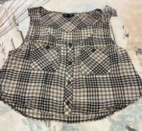 Topshop Women's Crop Top, Check, Black & Grey, Cute, Farmer, Pockets, UK Size 10