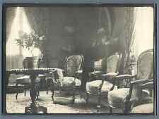 France, Photo d'intérieur bourgeois  Vintage silver print.  Tirage argent