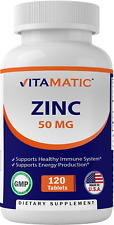 Vitamatic Zinc 50mg as Zinc Gluconate - Immunity Boosting Supplement 120 Tablets