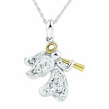 Angel Pendant With Crystals in 14k Gold-plated Sterling Silver