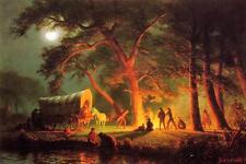 Bierstadt Oregon Trail Wagon Gold Panning Painting Fine Art Real CanvasPrint
