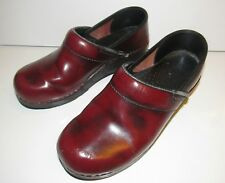 Dansko Professional Red Leather Slip On Clogs Mules, Size Women's EU 37 US 6.5