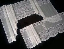 2 Teile Bistro Bogen Scheiben Stangen Gardine Weiß Breite 155 Höhe 30-61 cm