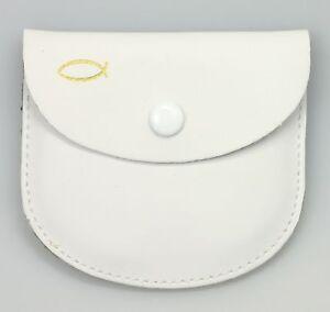 Etui Rosenkranz BUTZON & BERCKER Leder Weiß Fisch Symbol Gold Druckknopf 75x70mm