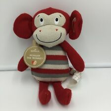 "Hallmark Morgan The Monkey Knit Plush Red Gray Heart Tags 11"" Stuffed Animal"