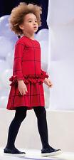 IL GUFO Rotes Kleid mit makro-Karo und Rüschen Gr.116-152 NEU %SALE%