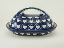Bunzlauer Keramik Butterdose, für 250g Butter, Blau/Weiß, Herzen(M077-SEM)