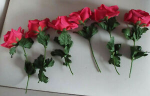 6 x Artificial Pink Roses